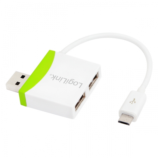 Logilink USB 2.0 Hub 2-port with USB Micro cable White/Green