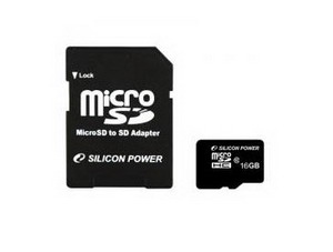 Silicon Power 16GB Micro Secure Digital Card CL10 + adapterrel