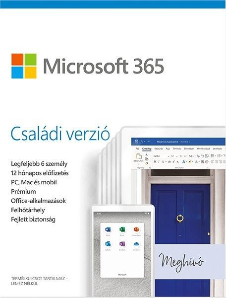 Microsoft 365 Family Hungarian EuroZone Sub 1YR Medialess P6